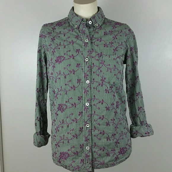 37c76299 Anthropologie Tops - Anthro Odille Gingham Embroidered Button Down Sz 4